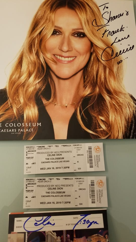 Concert program signed by Celine Dion.  for Frank and Sharron Smith of Kentucky.  January 16, 2019