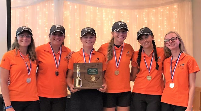 Nancy Noble's Ashland Arrows celebrate their second straight Division I district golf championship.