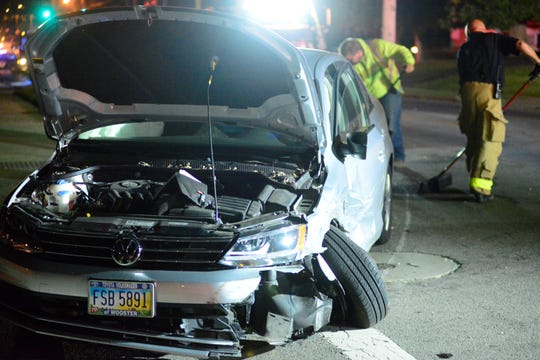 One person was injured in a three-vehicle crash which occurred in the 200 block of South Trimble Road on Tuesday night.