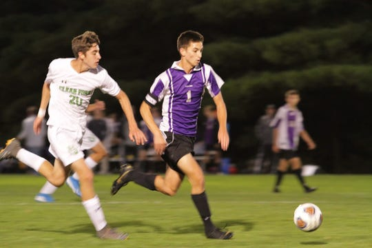 Lexington's Ryan Parker races down the field in the Minutemen's 6-0 victory over Clear Fork on Tuesday.