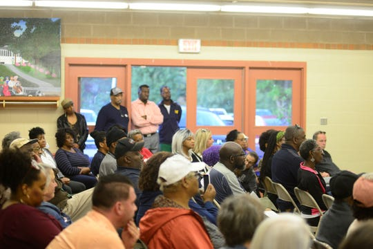 People packed into North Lake Park's pavilion for a discussion on Tuesday that centered on ways in which to strengthen relationships between the community and police.