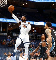 Memphis Grizzlies forward Jae Crowder lays the ball up against the New Zealand Breakers during their game at the FedExForum on Tuesday, Oct. 8, 2019.