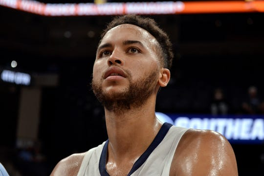 Memphis Grizzlies forward Kyle Anderson looks on from the bench in the second half of an exhibition NBA basketball game against the New Zealand Breakers Tuesday, Oct. 8, 2019, in Memphis, Tenn. (AP Photo/Brandon Dill)