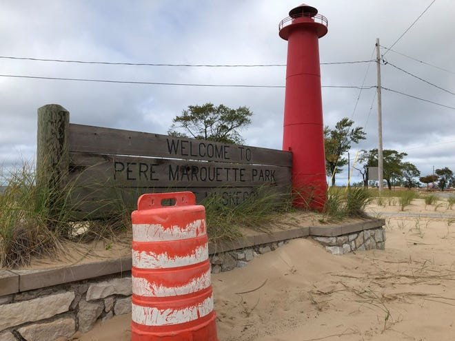 A Milwaukee construction barrel traveled across Lake Michigan and ended up in Muskegon, MI.