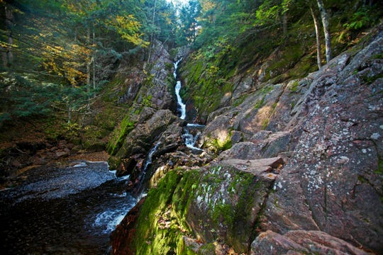 Morgan Falls drops a total of 70 feet over a series of granite ledges in the Chequamegon-Nicolet National Forest near Marengo.