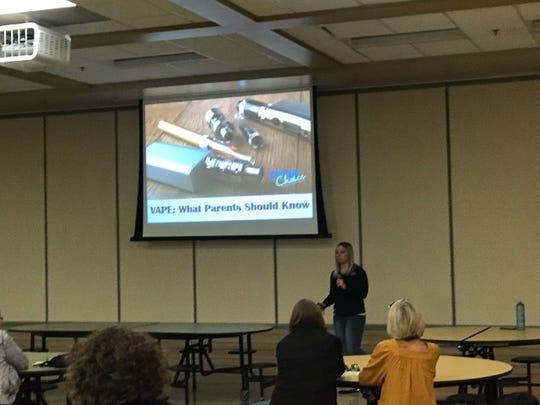 Your Choice To Live Executive Director Ashleigh Nowakowski gives a presentation to parents on vaping at Silver Lake Intermediate School in Oconomowoc on Oct. 8.