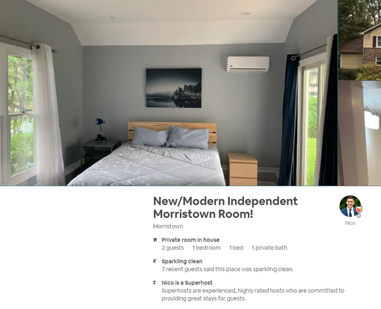 Nico Zavaleta lists his Airbnb room as a new and modern independent Morristown room.