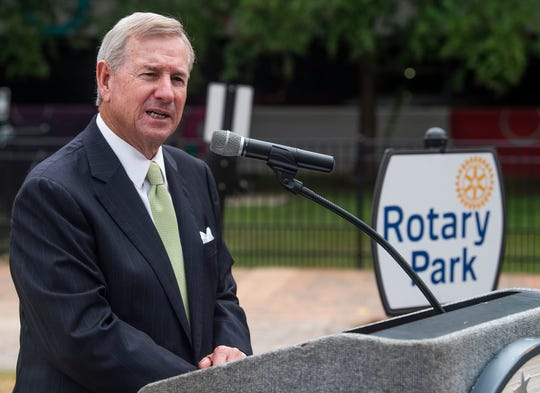 Montgomery Mayor Todd Strange gives a briefing at Rotary Park in downtown Montgomery, Ala., on Wednesday October 9, 2019.