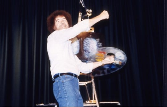 "Bob Ross at the L.L. Ball House, filming his PBS program, ""The Joy of Painting."" Ross painted in Muncie from 1983 to 1988."