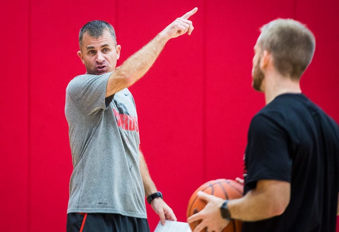 Ball State head coach James Whitford leads a practice at the Dr. Don Shondell Practice Center Tuesday Oct. 8, 2019.