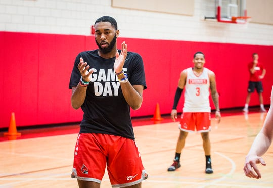 Tahjai Teague runs through drills with teammates at Ball State's Dr. Don Shondell Practice Center Tuesday Oct. 8, 2019.