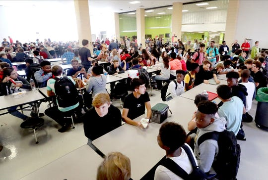 Stewarts Creek students eating lunch in the cafeteria during first lunch on Wednesday Oct. 2, 2019.