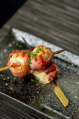 Hotate: grilled prosciutto-wrapped scallops with sage.