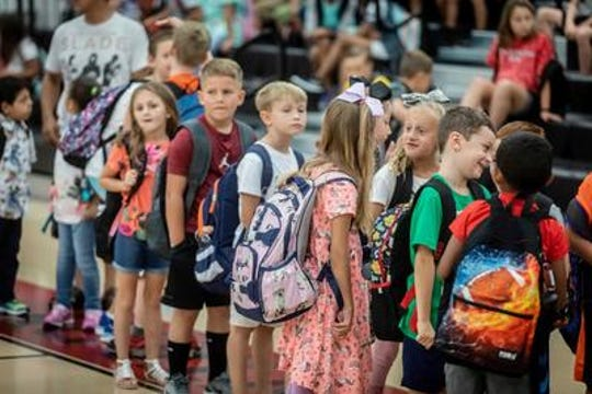 Students line up by grade level before heading to their classrooms on the first day of school at West Elementary School.