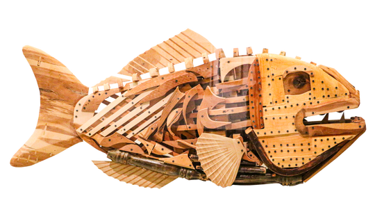 Jairo Prado, who emigrated from Colombia, made his intricate sculptureAncestral Fish,1997-98,while living in Tennessee.