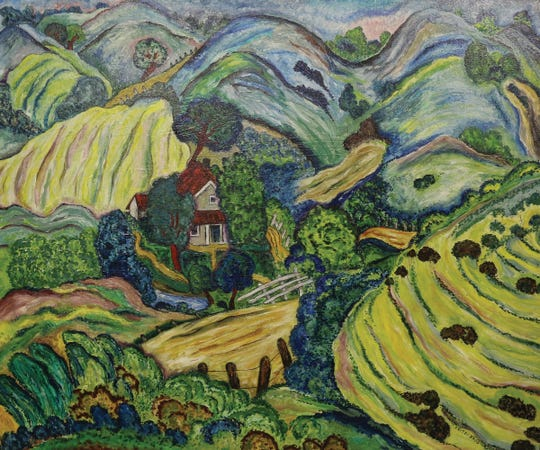 """New immigrants to America brought their own artistic traditions to Tennessee. Fritzi Brod left her homeland in Czechoslovakia to escape from the Nazis. Her colorful """"Near Gatlinburg"""", c. 1944, oil on panel, is one of the Tennessee State Museum's most iconic paintings."""