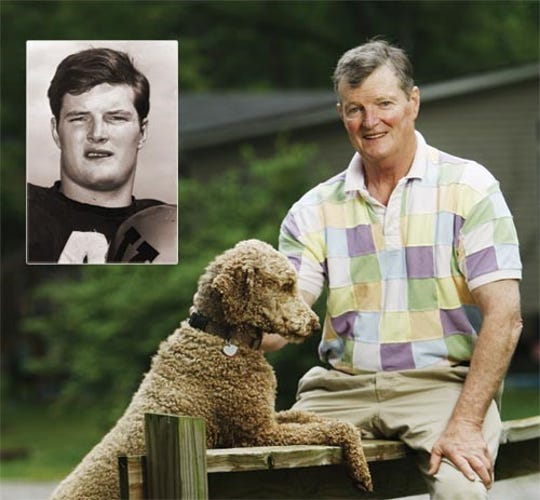 """A portrait of William Raymond """"Chip"""" Healy Jr. and his poodle, with an inset of Healy during his Vanderbilt football playing days in the 1960s"""