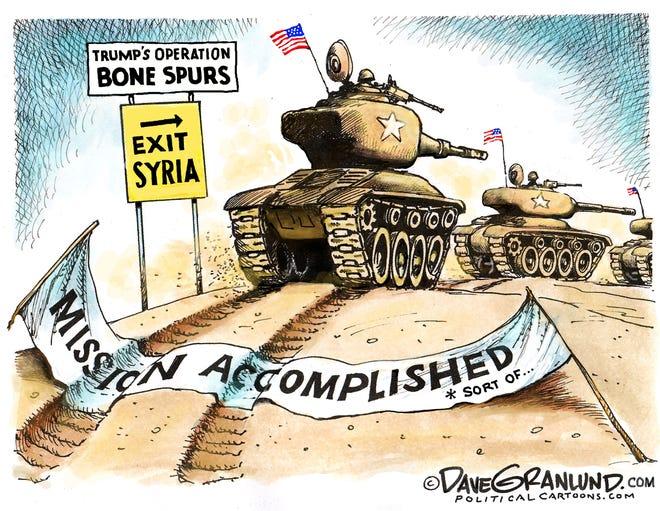 U.S. tanks leave Kurds in Syria.