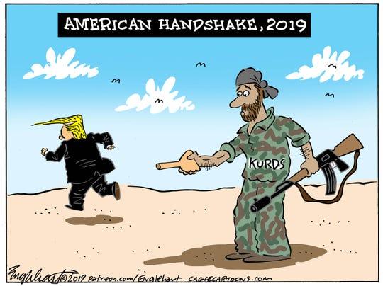Trump's handshake with Kurds.
