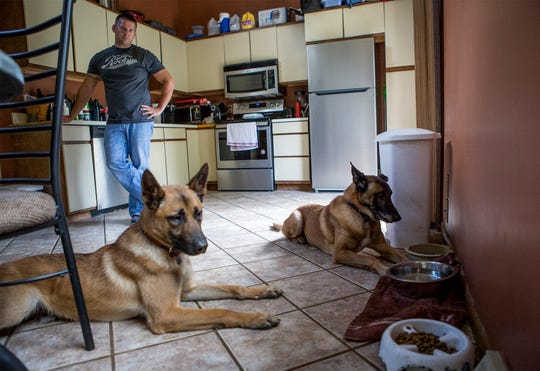 Newark K9 officer Dave Burris continues the training of current police dog Hugo and former dog, Ike at home by making them wait for his command to eat lunch. The dogs need constant training to keep them sharp and to help them use their energy.