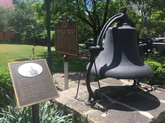 The original church bell, now located in Opera House Park, across the street from United Church of Granville's present-day location.