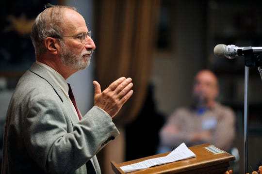 Joseph Chuman, leader of the Ethical Culture Society of Bergen County, speaks in 2012
