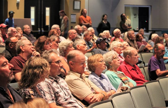 Residents of the University Estates subdivision attend a Las Cruces City Council meeting on Monday, Oct. 7, 2019.