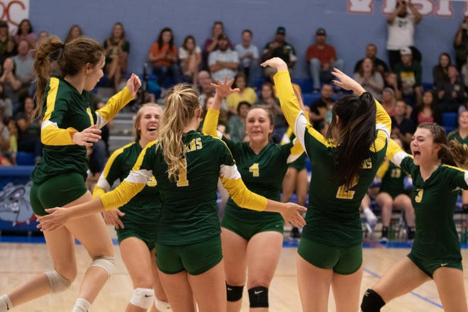 The Mayfield Trojan volleyball players celebrate after a key point against Las Cruces on Tuesday.