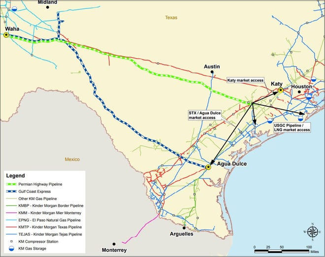 The route of the Permian Highway and Gulf Coast Express pipelines