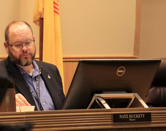 Mayor Nate Duckett participates in the City Council meeting, Tuesday, Oct. 8, 2019, in Farmington. Duckett cast the tie-breaking vote to withdraw a resolution opposing abortion from the agenda.