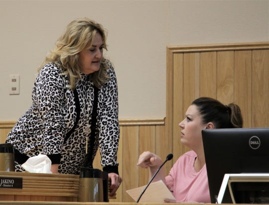 City Councilor Linda Rodgers speaks with City Attorney Jennifer Breakell, Tuesday, Oct. 8, 2019, prior to the Farmington City Council meeting.