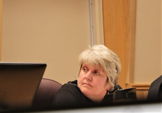 Farmington City Councilor Jeanine Bingham-Kelly participates in discussions, Tuesday, Oct. 8, 2019, about a resolution that included wording opposing abortion.