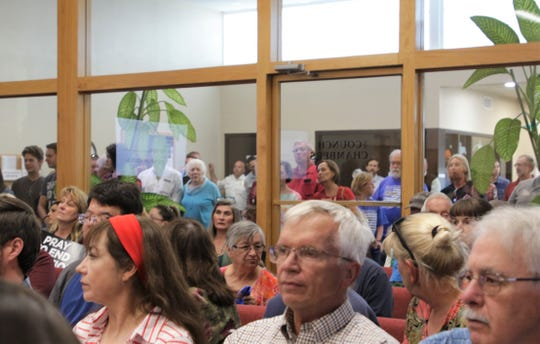A crowd overflowed the Farmington City Council chambers, Tuesday, Oct. 8, 2019, as the elected officials discussed a draft resolution that included language opposing abortion.