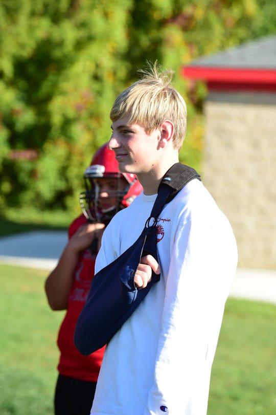 Clarenceville sophomore quarterback Dylan Stadler broke his collarbone against Pewamo-Westphailia on Oct. 4.