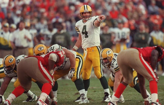 Quarterback Brett Favre at the line of scrimmage on January 6, 1996. The Packers beat the 49ers, 27-17.
