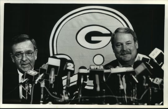 Green Bay's new regime, Ron Wolf (left) and Mike Holmgren, shown in 1992, brought about a new era of football for the franchise (and a trade for Brett Favre certainly helped).
