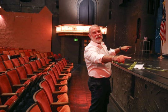 J.R. Roberts talks about the restoration of the historic Plaza Theatre in downtown Palm Springs, Oct. 8, 2019.