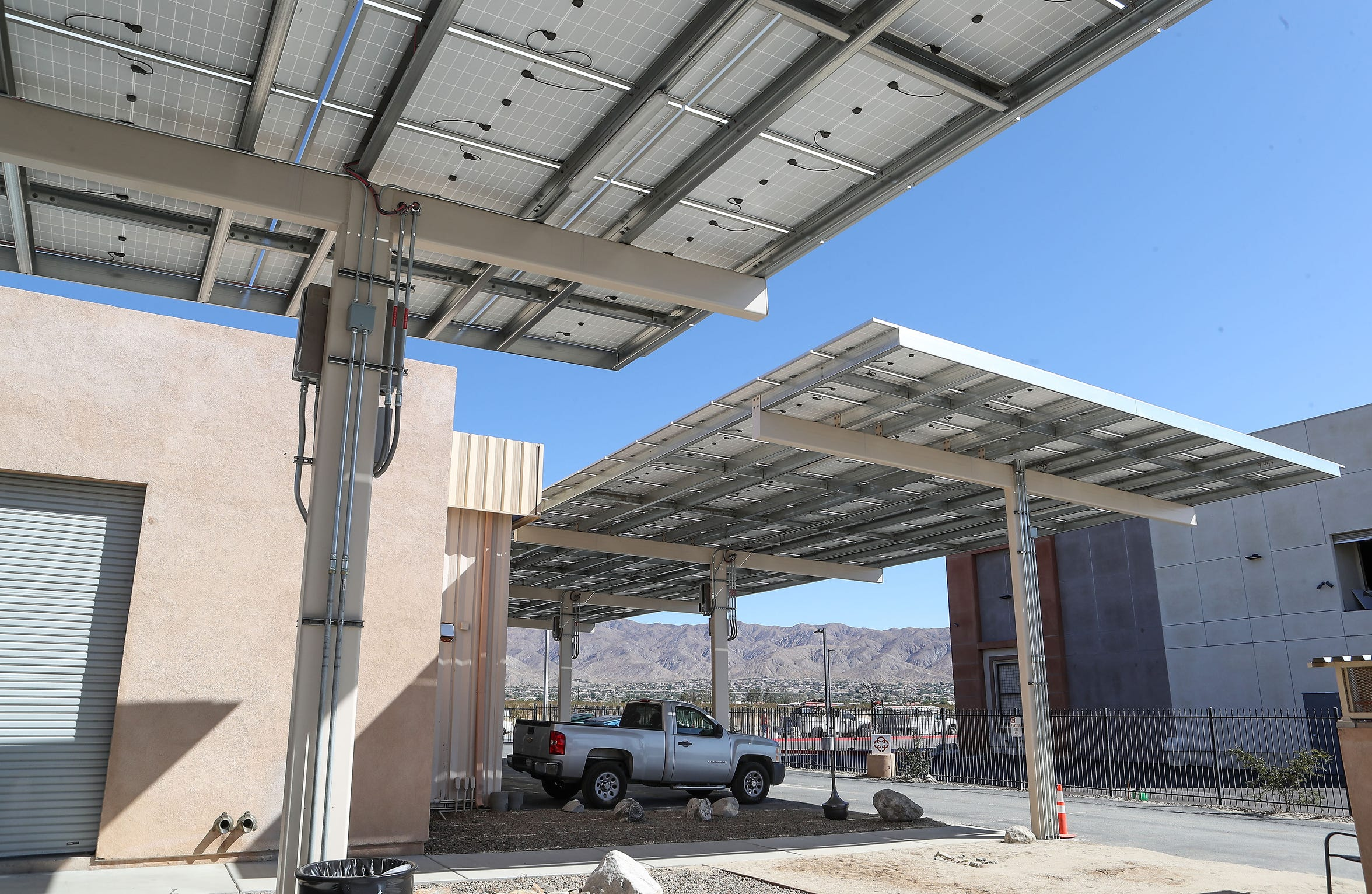 Solar panels generate electricity at the Canndescent grow facility in Desert Hot Springs, Sept. 17, 2019.