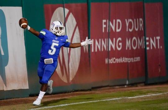 UWF running back Shomari Mason celebrates a touchdown during the Argos' 48-3 win over Delta State on Oct. 5, 2019.