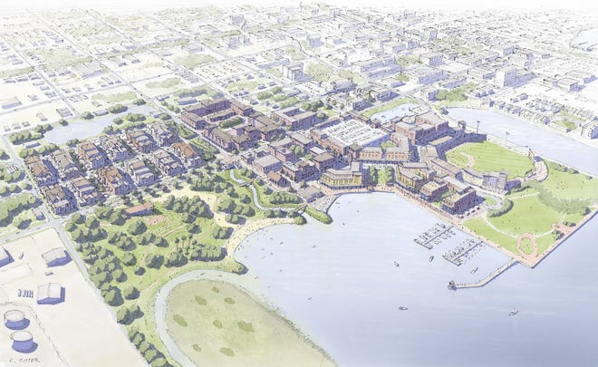 An artist's rendering shows what downtown Pensacola could look like if the West Main Master Plan is fully built.