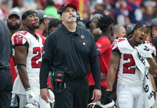 Falcons coach Dan Quinn looks on from the sideline during a game against the Texans on Oct. 6 at NRG Stadium.