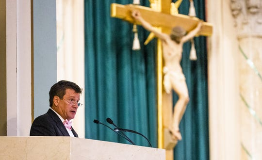 Michael Bidwill delivers a eulogy for his father during a funeral mass, Tuesday, October 8, 2019, for William Bidwill, owner of the Arizona Cardinals, who died on Wednesday, October 2, 2019.