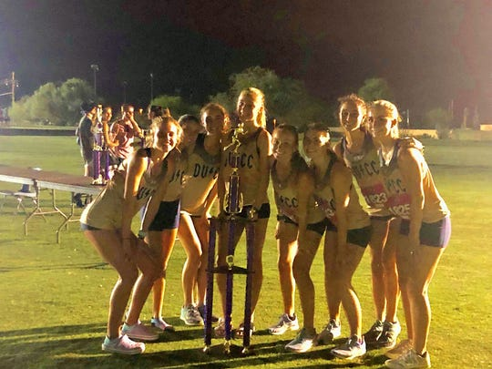 Sept. 6, 2019; Desert Vista girls cross-country team wins Desert Solstice at Crooked Tree Golf Course in Tucson, Ariz.