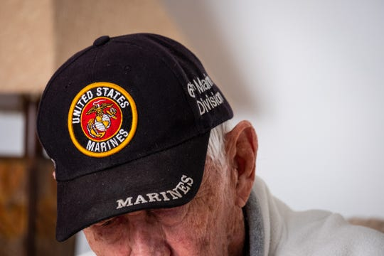 Jim Bradley, 94, a Marine veteran, tells the story of how he met Rene Gagnon during World War II to relatives of Gagnon Wednesday, Oct. 9, 2019. Gagnon is one of the soldiers who raised the flag at Iwo Jima.