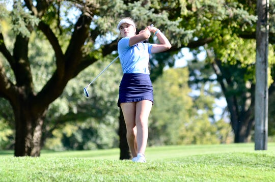 Richmond girls golfer Amelia Black competes during the Division 4 regional Wednesday, Oct. 9, 2019, at Fox Hills Golf & Banquet Center in Plymouth.
