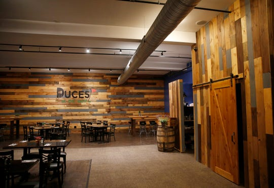 The dining room of Duces restaurant at DC Indoor Golf in the City of Poughkeepsie on October 8, 2019.