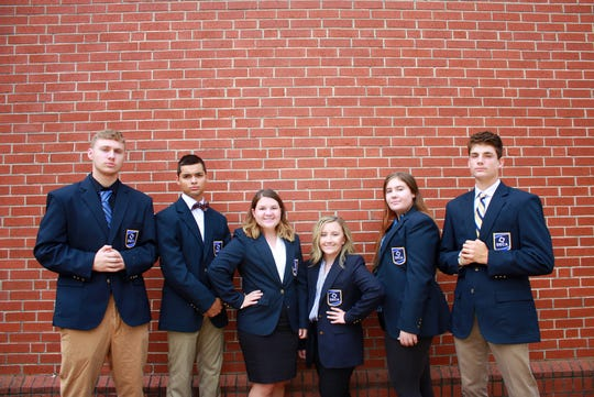 Dover DECA club officers for the 2019-20 school year. The competitive business club is hoping to beat a new $10,000 goal for its Community Giving Project, which is supporting the Greater Philadelphia ALS Association. (Photo by: Kaylee Renfrew, Dover Area High School senior in Skills USA chapter)  L to R: Colin Maute, vice president of marketing; Jacob Glatfelter, vice president of career development; Brooke Wiley, executive president; Alexi Lunsford, vice president of career development; Hailie Miller, vice president of finance; David Patterson, vice president of hospitality.  Jacob, Alexi and Hailie are the three project leaders for the Community Giving Project.