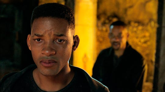 """Will Smith, portraying Junior, foreground, and Henry Brogan in  """"Gemini Man."""" The movie is playing at Regal West Manchester, Frank Theatres Queensgate Stadium 13 and R/C Hanover Movies."""