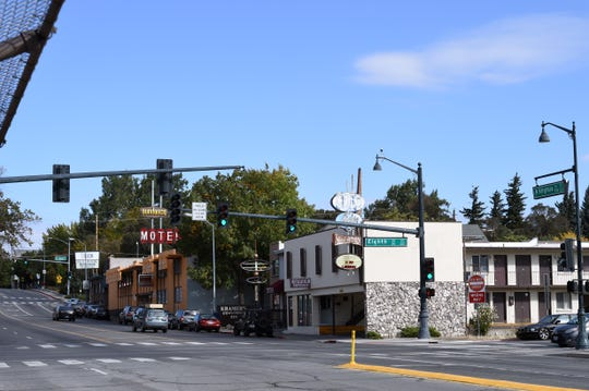 Buildings on the 800 block of N. Virginia Street on Oct. 9, 2019. RTC Washoe plans to turn the block between Eighth and Ninth Streets into a new rapid bus transit station.