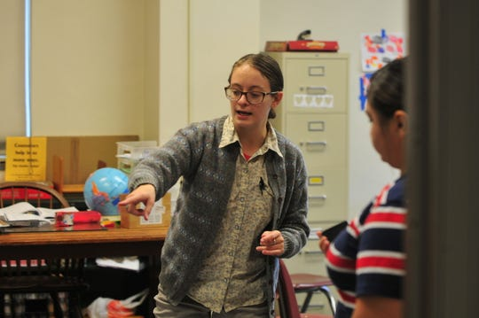 A 2019-20 Teach Plus Indiana Teaching Policy Fellow, Kirsten Archer Bunner instructs students in her classroom at Richmond High School in Oct., 2019.